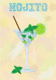 Nice mojito of ice cold glass on a color background. Soda with w Royalty Free Stock Image