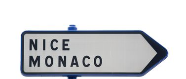 Nice, Monaco traffic sign Royalty Free Stock Photos