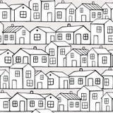 Nice monochrome Houses set. Vector seamless pattern. Stock Photography
