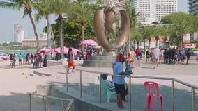 Phatthaya, Thailand - circa January 2018: Nice monument on quay on Beach Road in Phatthaya stock video