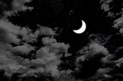 Nice moon and star in night sky Stock Images