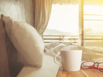 Nice morning bedroom with coffee Stock Image