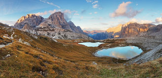 Nice mountain with lake - Italy Alps Dolomites - Tre Cime - Lago Royalty Free Stock Photos