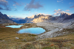 Nice mountain with lake - Italy Alps Dolomites - Tre Cime - Lago Stock Images