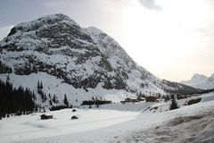 Nice Mountain Valley in the Austrian Alps at Winter royalty free stock photos