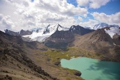 Nice mountains and lake landscape. Nice lake in mountains of Kyrgyzstan Stock Photo
