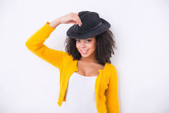Nice mulatto woman  wearing black hat Stock Photography