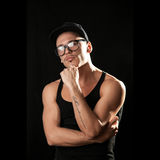Nice muscular man in glasses Stock Photography