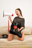 Nice music lover with gramophone record Stock Images