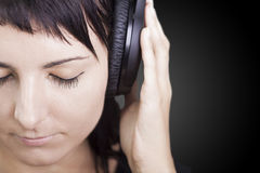 Nice Music. Woman enjoying music. Stock Photography