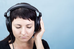 Nice Music. Woman enjoying music. Royalty Free Stock Photo