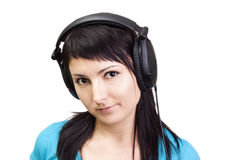 Nice Music. Woman enjoying music. Royalty Free Stock Photography