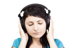 Nice Music. Woman enjoying music. Royalty Free Stock Images