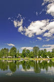 Nice nature view from lake with vivid sky Royalty Free Stock Photography