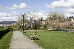 Nice neighborhood park. A nice neighborhood with park and sea views Royalty Free Stock Photo