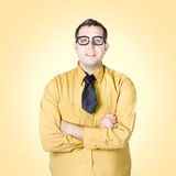 Nice nerd business salesman on yellow background Royalty Free Stock Images