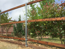 Nice new fence building with steel tube Stock Photo