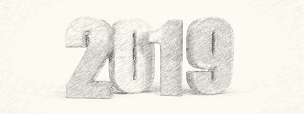 2019 new year text pencil art banner. Nice 2019 new year text pencil art banner stock illustration