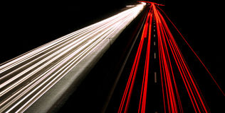 Nice Night shot of highway. With front and back lights of cars Stock Photos