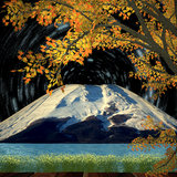 Nice night view with Beautiful mountain and maple Royalty Free Stock Photos