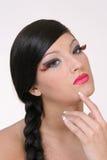 Nice Nine. Beautiful girl with big lashes stock photo
