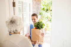 Nice nurse bringing vegetables to old patient Royalty Free Stock Photos