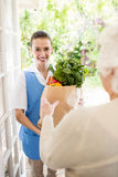 Nice nurse bringing vegetables to old patient Stock Photography