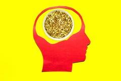 Nice oatmeal porridge. Oatmeal porridge close up in red paper human head on yellow background Royalty Free Stock Photos