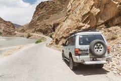 Nice Off-road vehicle at  Wakhan. WAKHAN, TAJIKISTAN - CIRCA JUNE 2017: Off-road vehicle at  Wakhan in Tajikistan circa June 2017 in Wakhan Royalty Free Stock Images