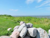 Big stones near lake, Lithuania. Nice old big stones on Curonian spit shore Stock Photography