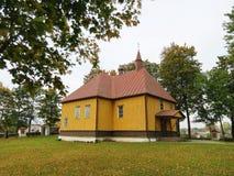 Beautiful yellow wooden  church, Lithuania Stock Image