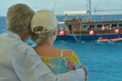 Nice old couple at resort Stock Photos