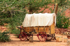 Nice old covered wagon in the old West, Arizona. USA royalty free stock image