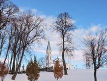 Beautiful white church in Telsiai town, Lithuania Stock Image