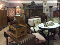 Nice old  furniture and furnishing. Old furniture and furnishing selling at antique store, USA Royalty Free Stock Photo