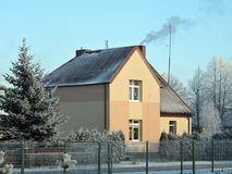 Old beautiful home in winter, Lithuania Stock Photos