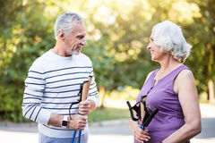 Nice old lady and gentleman spending good time outside Stock Photography