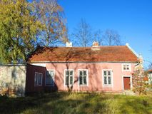 Beautiful pink old home , Lithuania stock photos