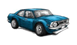 Nice old school car. Beautifully drawn by hand graphic illustration with a blue racing vehicle. Pencil sketch Royalty Free Stock Photo