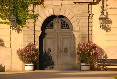 Nice old style palace doors. In polish Lancut Stock Photography