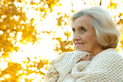 Nice old woman stands Royalty Free Stock Images