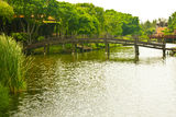 Nice old wooden bridge in park at summertime. Stock Photography