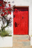 Nice old wooden door. Nice entrance to a house with old wooden door and colorful plants Stock Photo
