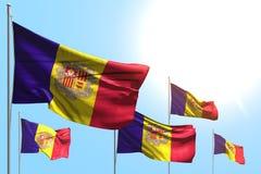 Nice om het even welke 3d illustratie van de vakantievlag - 5 vlaggen van Andorra golven op blauwe hemelachtergrond royalty-vrije illustratie