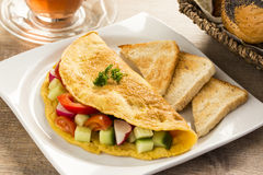 A nice omelet  with vegetables Stock Images