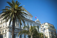 Nice opera house and palm trees on French Riviera Royalty Free Stock Photography