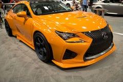 Nice orange Lexus car in auto show. Nice Lexus car in auto show 2016 Dallas, TX USA Stock Photo
