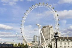 Nice outdoors photo with details of the London Eye ferris wheel in England. London Eye Great Britain, October 12 2017, Nice outdoors photo with details of the stock image