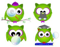 Nice Owl researcher. Cute owl researcher, green and purple, with a magnifying glass and telescope Royalty Free Stock Photography