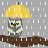 Nice owl with umbrella. On tree brunch in rain stock illustration